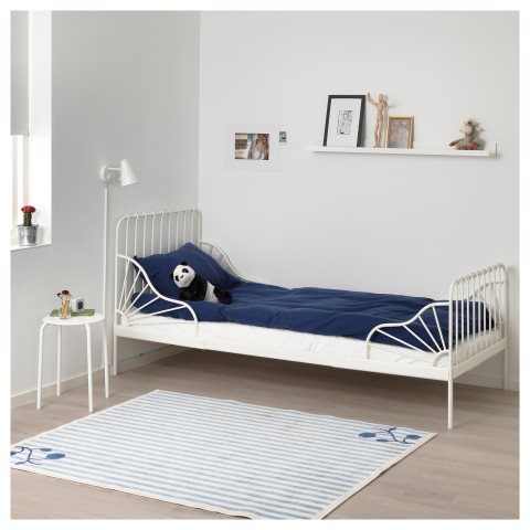 Minnen Extendable Bed Frame With Slatted Bed Base White