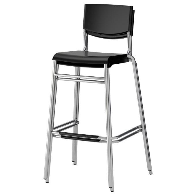 STIG bar stool with backrest, Black   IKEA Cyprus
