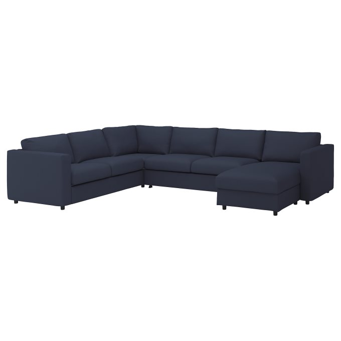 Groovy Vimle Corner Sofa Bed 5 Seat With Chaise Longue Blue Pabps2019 Chair Design Images Pabps2019Com